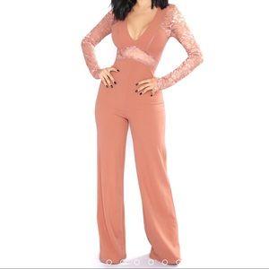 Hanna Lace Cut Out Jumpsuit - Rose